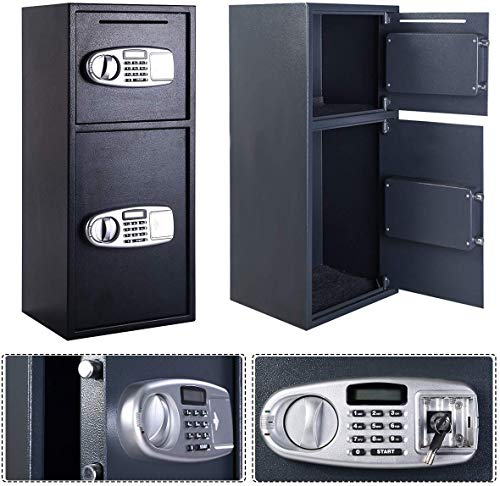 Casart Double Door Safe Box, Digital Safe Depository Drop Box with Keys for Home and Office, Security Lock Box for Gun, Cash and More