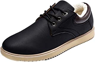Fulision Men's Winter Keep Warm Leather Casual Walking Lace-up Cotton Shoes