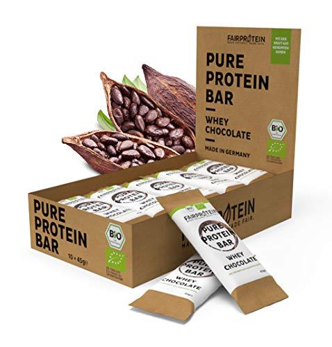 Fairprotein® NEU Whey Bio Protein-Riegel Schoko [aus Deutschland] Bio Eiweißriegel ohne Soja mit gekeimter Quinoa & Leinsaat » Premium Protein Bars aus der Milch von Weidekühen « (10 x 45g)