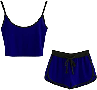 Laimeng New! Women Sleeveless Crop Cami Tops Blouse+Cord Shorts Outfit Set Sports Suit