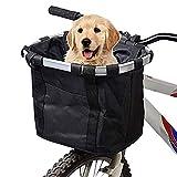 URBEST Bike Basket,Small Pets Cat Dog Folding Carrier,Removable Bicycle Handlebar Front Basket, Quick