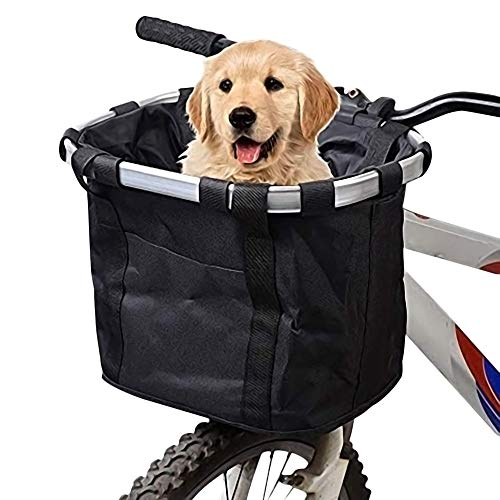 Save %20 Now! URBEST Bike Basket,Small Pets Cat Dog Folding Carrier,Removable Bicycle Handlebar Fron...