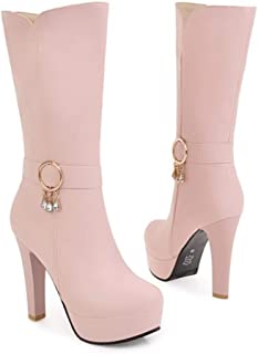 DETAIWIN Womens Platform Mid-Calf Boots Waterproof Round Toe Side Zipper Warm Winter PU Leather High Heel Boots