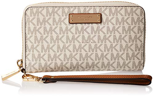 "MK Signature coated twill PVC; lining; polyester 7""W x 4""H x 1""D 7""L wristlet strap Zip-around closure Exterior logo plate"