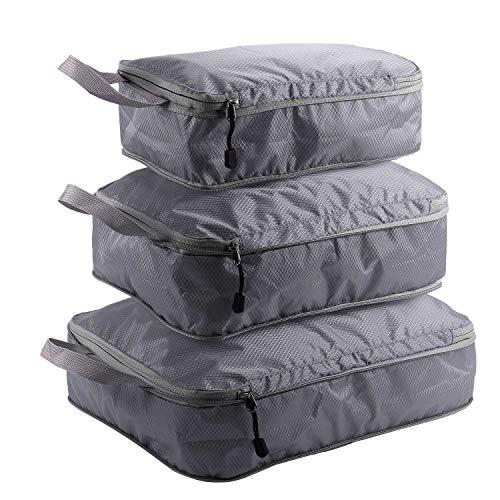 MLXG - Lote de 3 bolsas de almacenamiento para ropa, organizador, armario, maleta, organizador, bolso, zapatos, embalaje, cuadrado, bolsa gris