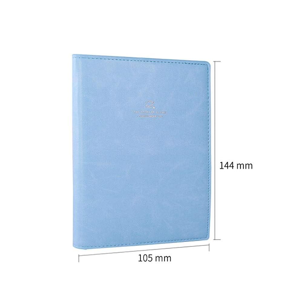 レザークリエイティブハンドハンドハンドブック、シンプルなイラストブック、スケジュール帳、ライトブルー、ダークブルー、ブルー、ブラック、ピンク、ベージュ、高品質 (Color : Light blue)