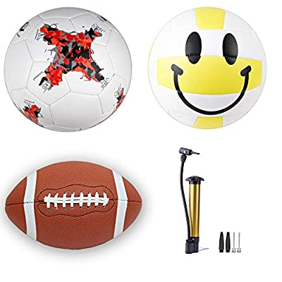 Pack of 3 Sports Balls (Playground Balls) - Includes Size 5 Soccer Ball, American Football, Size 5 Volleyball, Pump Kit & Mesh Drawstring Bag - Official Size Balls for Indoors and Outdoor Play