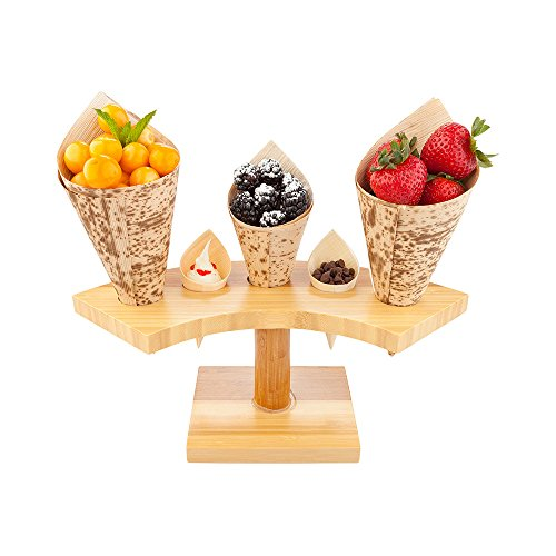 10-inch Crescent Food Cone and Sushi Hand Roll Display Stand: Perfect for Restaurants, Catered Events, and Buffets - Holds 5 Cones - Made from Organic Bamboo - 1ctBox - Restaurantware