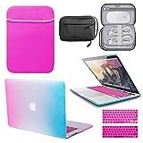 GUPi BUNDLE - Carcasa rígida para Apple MacBook Pro A1708 (pantalla Retina, funda de neopreno y bolsa de accesorios), color rosa