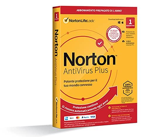 Norton Antivirus Plus 2021 |Antivirus 1 Dispositivo,Licenza di 1 anno con rinnovo automatico,PC o Mac