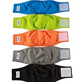 JoyDaog Reusable Belly Bands for Dogs,5 Pack Premium Washable Dog Diapers Male Puppy Nappies Wrap by,M