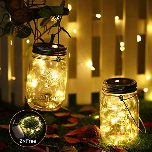 DazSpirit Solar Jar Light mit Extra Batteriebetriebenem LED String Light - Hängende Solarlaternen für Innen, Außen und Garten - Windlicht Garten, Solar Balkon, Solartischleuchten Außen (2 Stück)