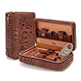 Lagute Groucho Leather Cigar Case Humidor with Cutter and Dropper, Cedar Wood...