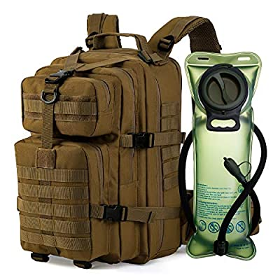 Gelindo Tactical Backpack with 2.5 Liter Hydration Bladder, BPA Free, Outdoor Gear for 1-3 Days Assult Rucksack Backpacks for Hiking Camping Trekking Cycling School, Khaki