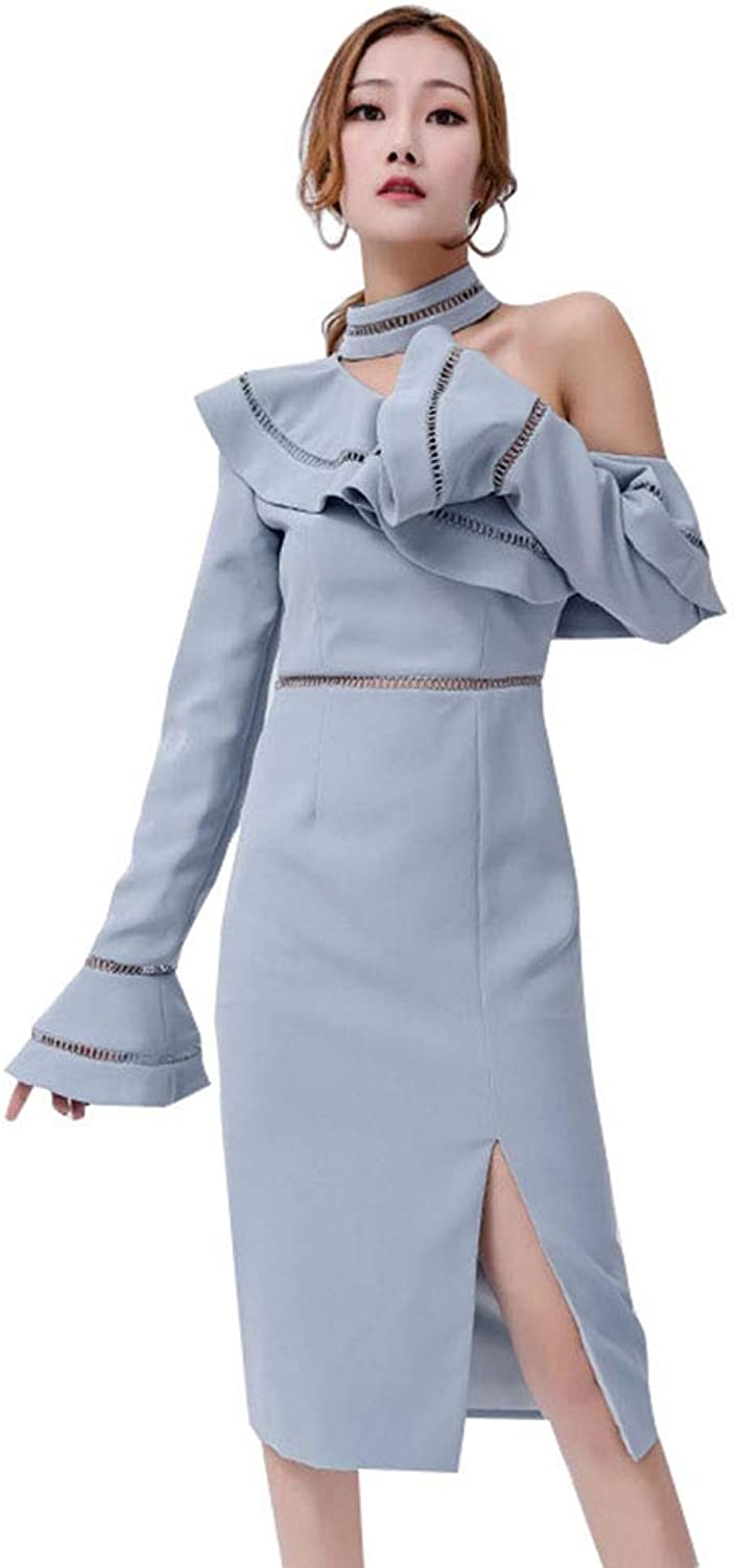 Women's Dress New Spring Hanging Neck Ruffled Trumpet Sleeves Meeting Gown Polyester Slits Slim Dress bluee,bluee,S