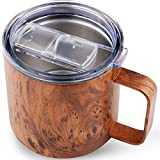 14 OZ Travel Coffee Mug with Large Handle Stainless Steel Insulated Tumbler Wood Grain