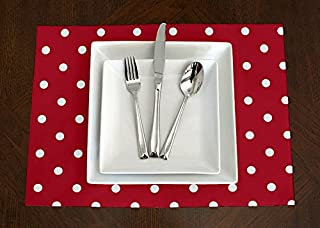 A LuxeHome Red and White Modern Contemporary Polka Dot Placemat Topper Table Mat Set of 4