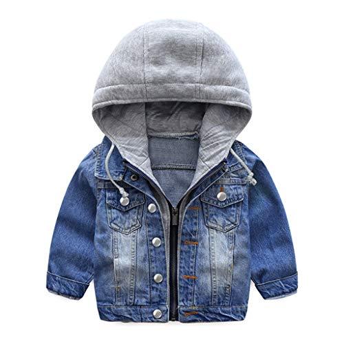 Jungen Jeansjacke Kinder Jeans Jacke Mantel Kapuze Langarm Blau Denim Tops Kleidung Reißverschluss Frühling Herbst Casual Outwear Blau 3-4 Jahre (110cm)