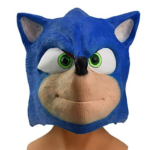 Vercico Sonik Mascara The Hedgehok Mascara látex Cosplay Disfraz Máscara de Fiesta de Halloween para Adolescentes y Adultos