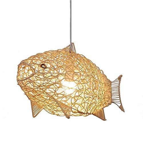 JYKJ Rotan lampenkap restaurant kroonluchter, bamboe kunst kinderkamer hanglamp, visvormige wikkelaar kroonluchter plafondlamp E27 rotan kroonluchter