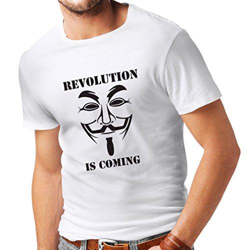 lepni.me Camisetas Hombre La Revolución se Acerca Hackers Anónimos Legión V para Vendetta (Small Blanco Negro)