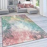 [page_title]-Paco Home Wohnzimmer Teppich, Moderner Kurzflor in Pastell Farben, Vintage Galaxy Muster, Grösse:120x170 cm, Farbe:Mehrfarbig