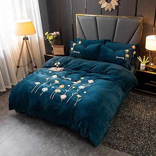Flor Azul Espesar Franela Juego de Ropa de Cama de Invierno Suave y cálido Juego Funda de Edredón 100% Microfibra Funda Nordica con Cremallera 230x200cm Incluir 2 Fundas de Almohada