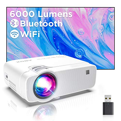 Mini Proiettore Portatile, Videoproiettore Wifi Luminosità 6000, Supporta 1080p Full HD 300'', ABOX Proiettore Wifi Compatibile Android,iPhone,Laptop,PS4,Mac, Ideale per Home Cinema