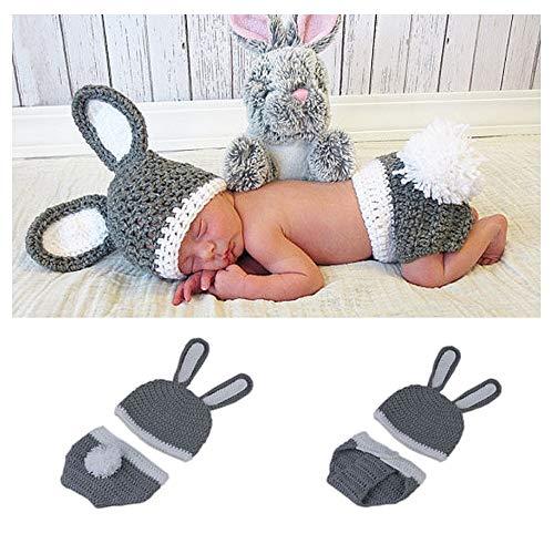 Ropa Linda del Sombrero del Ganchillo Hecho A Mano del Bebé Recién Nacido del Estilo del Conejito, Accesorios De La Fotografía De La Foto del Bebé (Gris)