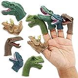 10 Pack Dinosaur Finger Puppets Toys for Kids, 5 Assorted Designs
