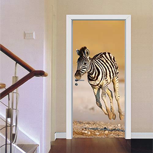Vinyl deur muurschildering deurbehang 77 x 200 cm dier galopperend paard 3D-deuren renoveren zelfklevende decoratieve waterdichte muursticker voor slaapkamer toilet wooncultuur 88x200cm