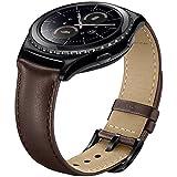 Sundaree Compatible con Galaxy Watch Active2/Galaxy Watch 42MM Correa,20MM Genuina Reemplazo Correa Pulsera Repuesto de Reloj para Samsung Galaxy Watch Active2 40 44/Galaxy Watch 42(S2-Marrón Cuero)
