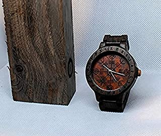 Helm of awe watch   Vikings men's watch   Mens gift watch   bog oak watch for man   Asatru engraving and customization