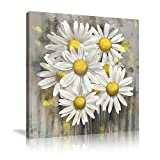 VIIVEI Yellow Grey Daisy Flower Wall Art Decor Posters Decoration Grey Wall Decor Artwork Paintings Canvas for Bedroom Living Room Bathroom Home Decor Decal Poster Framed Ready to Hang-16'x16'