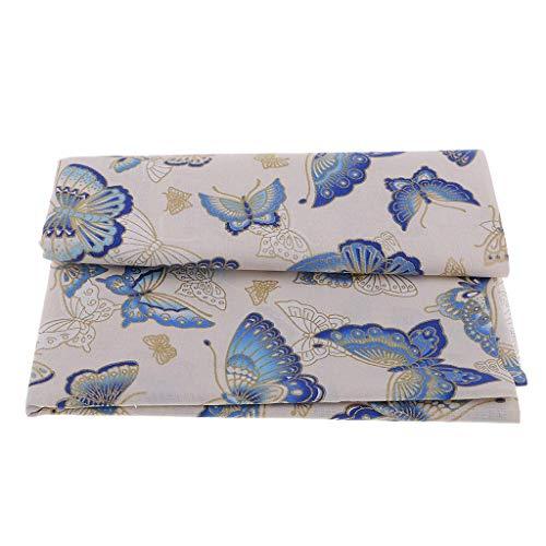 Inzopo Stoff mit Schmetterlingen, 100 % Baumwolle, Meterware, zum Basteln, Nähen, 59, Blau, 1 Meter