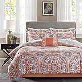 Madison Park Essentials Cozy Bag Comforter, Medallion Damask Design All Season Down Alternative Complete Sheet Set, Bed Skirt, King(104'x92'), Coral