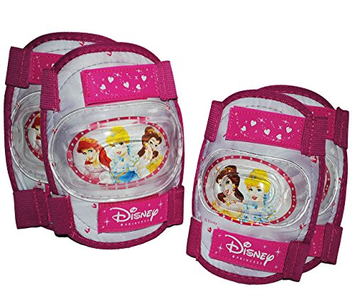 4 tlg. KINDER SET KNIESCHÜTZER 3 Disney Prinzessinnen - ELLENBOGENSCHÜTZER Knieschoner - Schützer z.B. für Rollschuhe Inline Skates - Mädchen