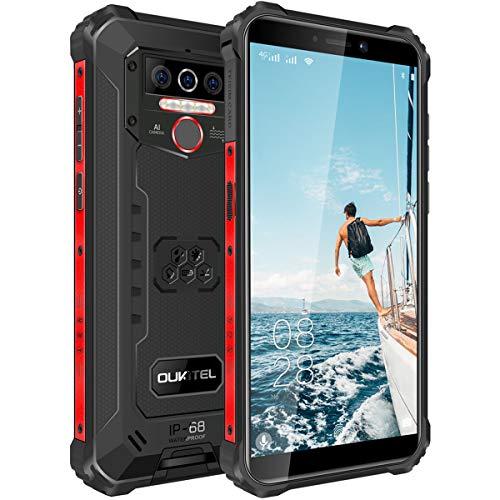 OUKITEL WP5-4G Outdoor Smartphone ohne Vertrag,5.5 Zoll 8000mAh Akku MTK6761 4GB + 32GB, IP68 13MP + 2MP + 2MP Robustes Handy,Android 10.0,Triple Kamera,Gesichtserkennung (Schwarz)