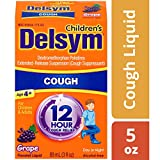Children's Delsym 12 Hour Cough Relief Liquid- Day or Night Grape Cough Medicine With Dextromethorphan Helps Quiet Cough By Supressing Cough Reflex, 5 oz.