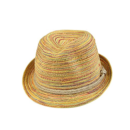 Tinksky Frauen Panama-Strohhut-Kappe Fedora-Hut Bunte gestreifte faltbare Sun-Kappe Bohemia Strand-Sommer