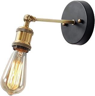 Goeco Lámpara de pared retro E27, Apliques de Pared cabeza de cobre ajustable, para Cocina Comedor Atico Dormitorio (No incluye bombilla)