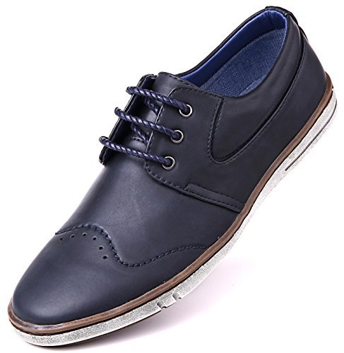 Mio Marino Men Casual Oxford Shoes - Comfortable Business Fashion Mens Casual Dress Shoes - Navy Blue - 11 D(M) US