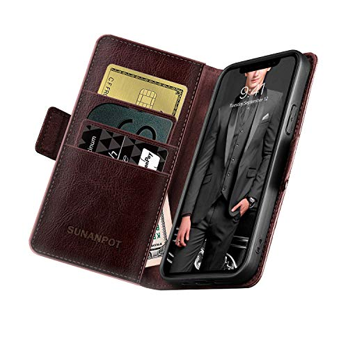 SUANPOT Designed for iPhone 12/12 pro Wallet Case 6.1 inch Genuine Leather Case Flip Folio Case Cell Phone RFID Book Folding for Men Magnetic Cover with Card Holder for Apple12 Wallet Case Brown