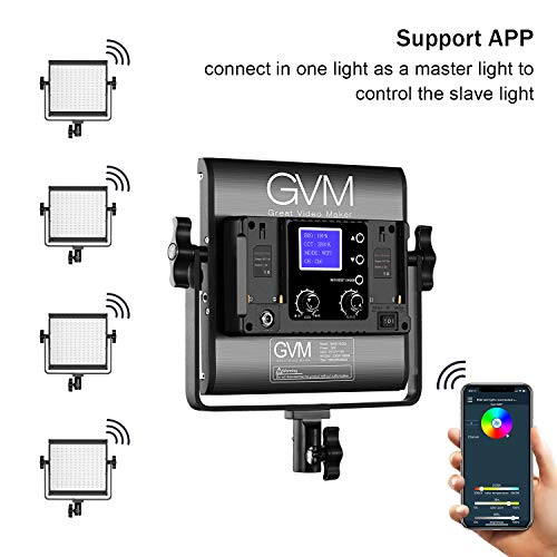 GVM RGB LED Video Light, Photography Lighting with APP Control, Video Lighting Kit for YouTube Studio, 2 Packs Led Panel Light, 3200K-5600K, 8 Kinds    of The Scene Lights, CRI 97