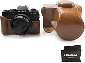 kinokoo PU Leather Cover Bag for Fuji X-T100 Camera and 15-45mm Lens, Prective Case with Shoulder Strap-Brown