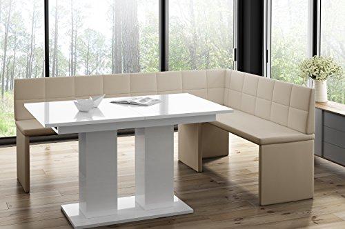 Mystylewood hoekbank Marta Creme met zuiltafel keukenbank zithoek dik bekleed kunstleer onderhoudsvriendelijk stabiel houten frame rechts KL 168x128 cm Rechts wit