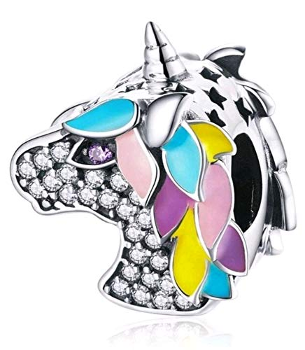 Marni's Designs - 925 Sterling Silver Charm Pendant | Unicorn Charms for Jewelry Making and Crafting for Necklace or Bracelets | Vintage Design, Unicorn Inspired | Brilliantly Colored Cubic Zirconia