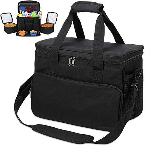 KOPEKS reistas voor honden, katten, huisdieren, geïsoleerde tas met vakken, voederbak en drinkfles, opvouwbaar, reisset - zwart