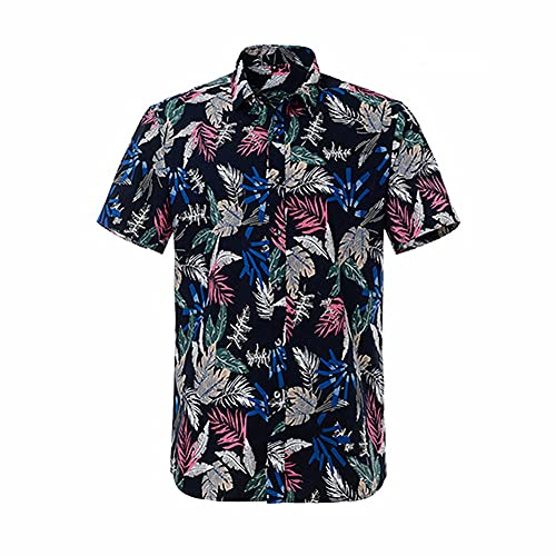 N\P camisa de playa de algodón de manga corta de los hombres de la, 8016-2, L