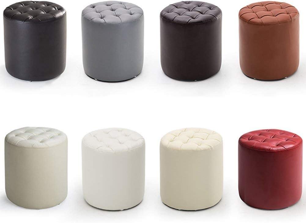 Pouf Tabouret Repose-pieds Tabouret Chaise Siège de table souple en bois massif Cadre de stockage, 6 couleurs, 2 Relax (Couleur: Noir) Montage facile (Color : Khaki) Beige